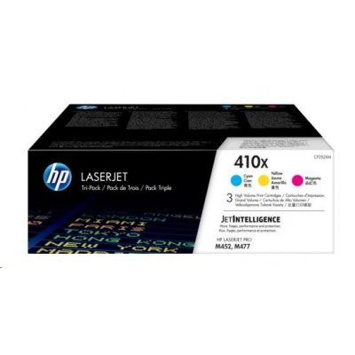 HP 410X 3-pack High Yield Cyan/Magenta/Yellow Original LaserJet Toner Cartridges (CF252XM)