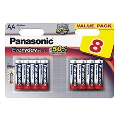 PANASONIC Alkalické baterie Everyday Power  LR6EPS/8BW AA 1,5V (Blistr 8ks)